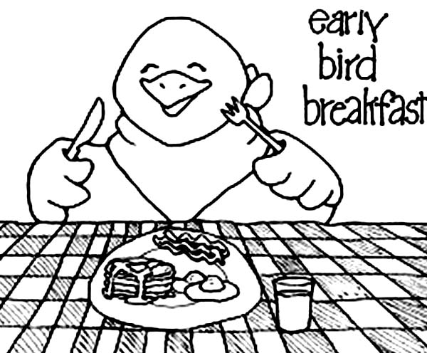 Breakfast, : Early Bird Breakfast Coloring Page