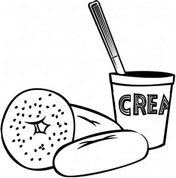 Breakfast, : Eating Breakfast with Donuts Coloring Page