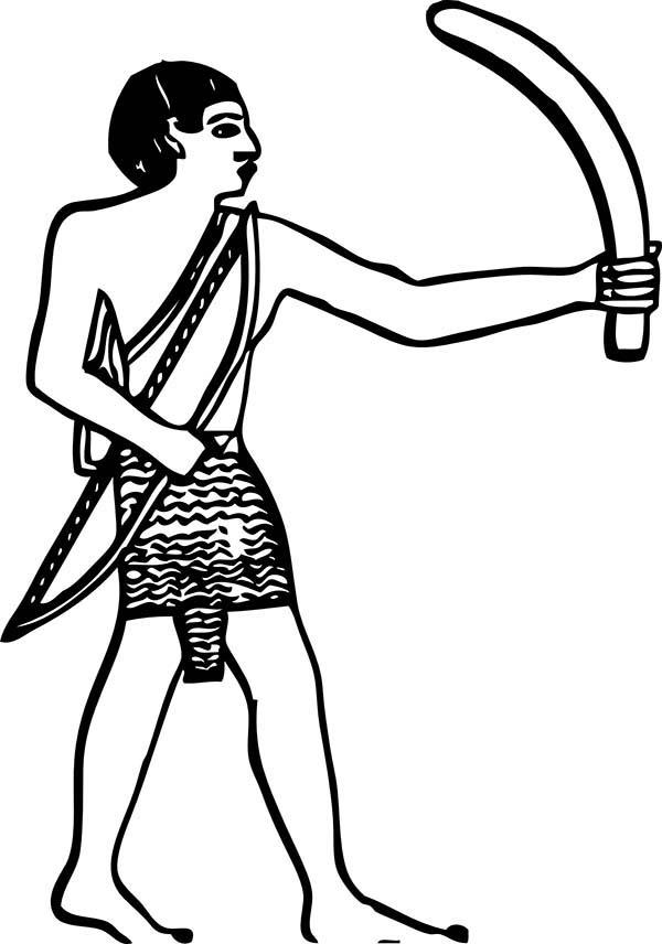 Boomerang, : Egyptian Bas Relief Boomerang Coloring Page