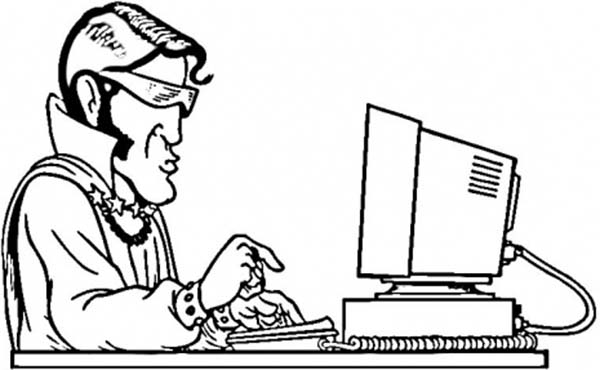 Computer, : Elvis Typing with Computer Coloring Page