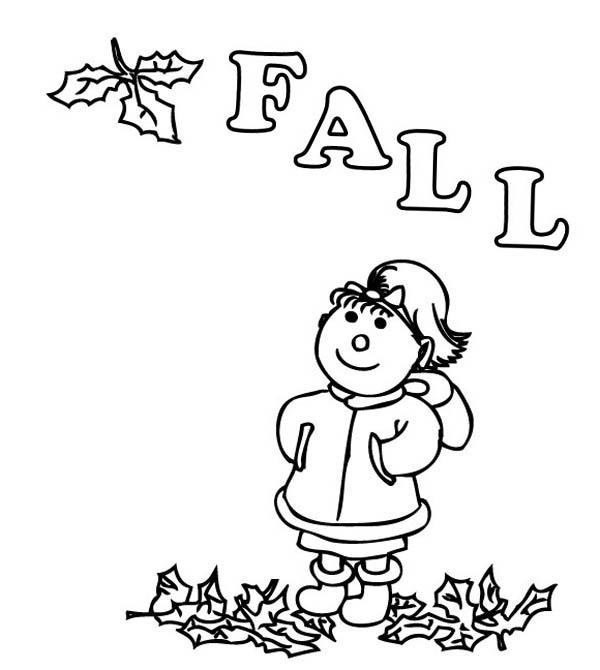 Autumn, : Enjoying in Autumn Season Coloring Page