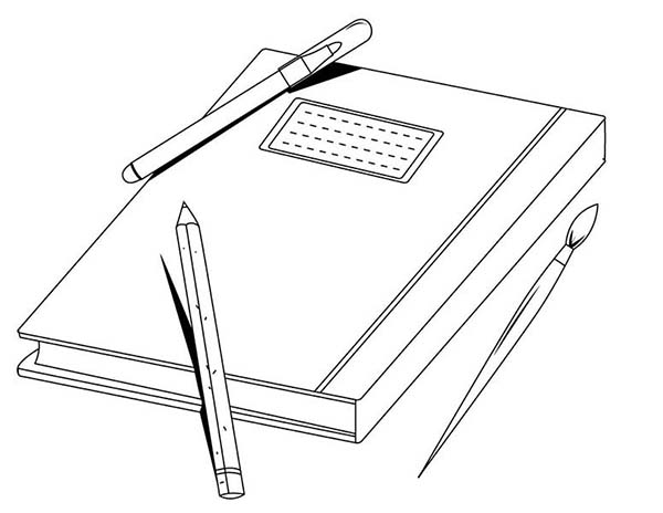 Books, : Exercise Book and a Pen Coloring Page