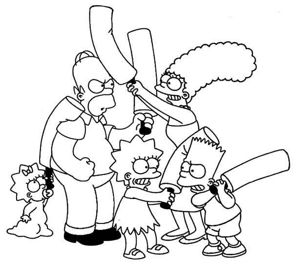 family fight in the simpsons coloring page
