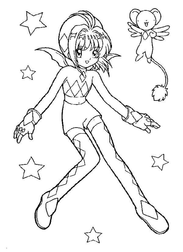 Cardcaptor Sakura, : Famous Characters from Cardcaptor Sakura Coloring Page
