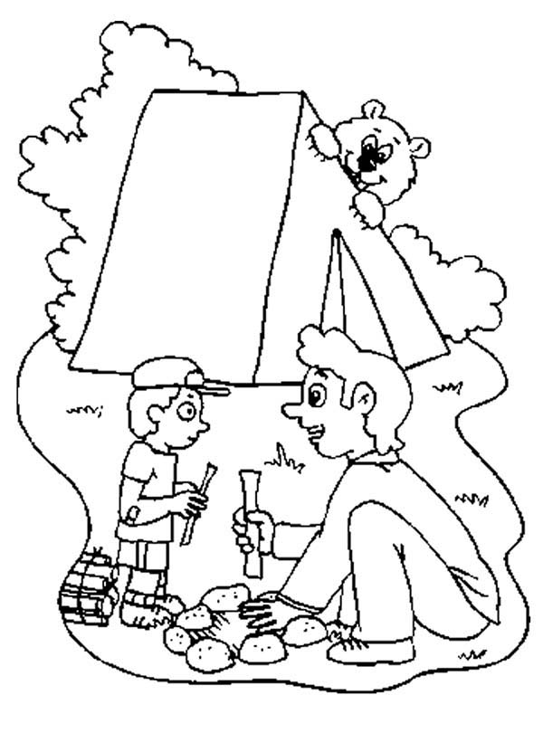 Camping, : Father Teach His Son Make Campfire at Camping Coloring Page