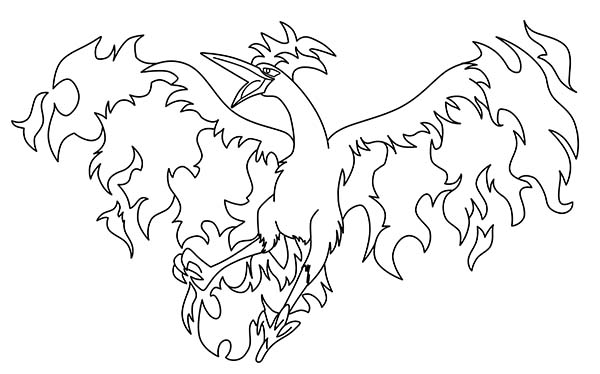 Fire Articuno Bird Coloring Page | Coloring Sun