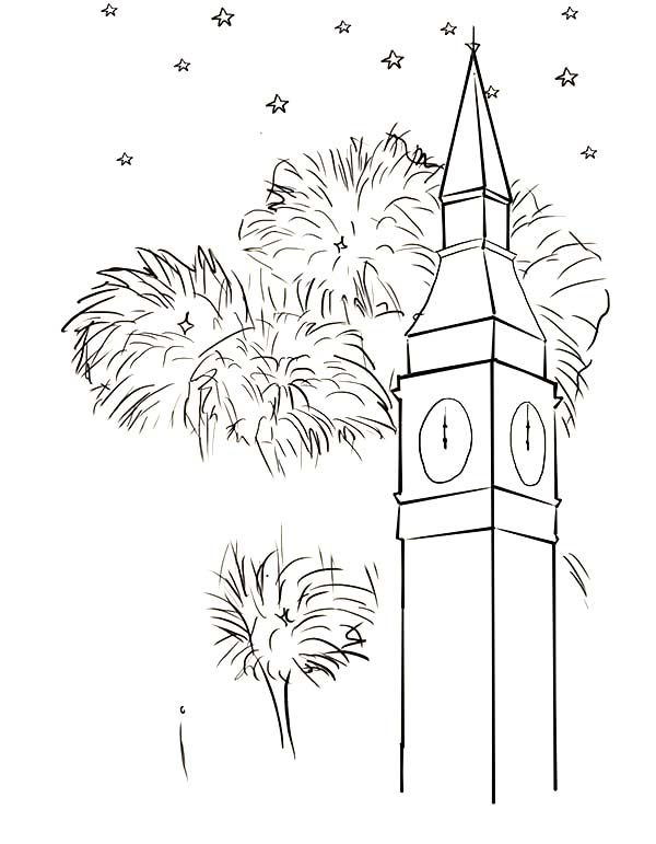 Big Ben, : Fireworks Near Big Ben Coloring Page