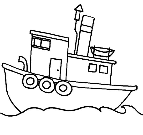 Fishing Boat Sail in the Sea Coloring Page: Fishing Boat Sail in the ...