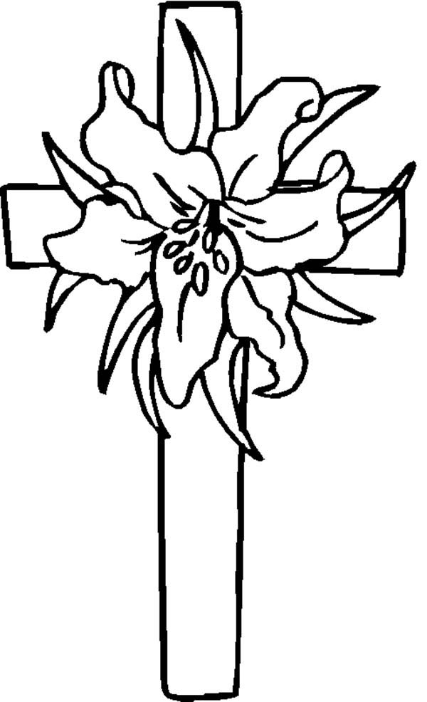 Cross, : Flowered Cross Coloring Page