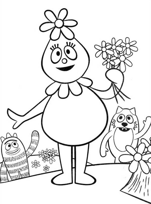 Foofa Hold Flower in Her Hand in Yo Gabba Gabba Coloring Page