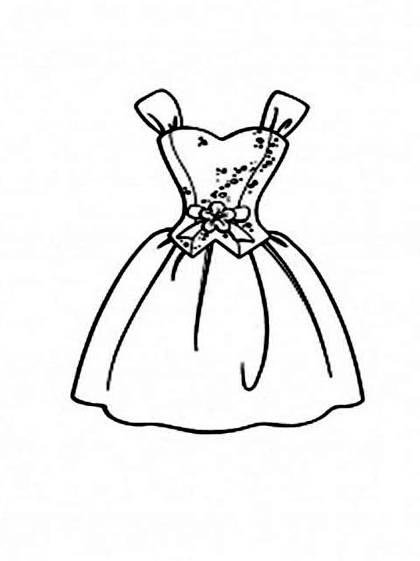 Dress, : Formal Slip Dress Coloring Page