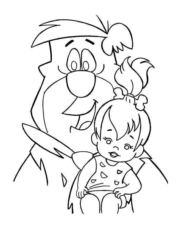 The Flintstones, : Fred Taking Care of Pebbles in the Flintstones Coloring Page