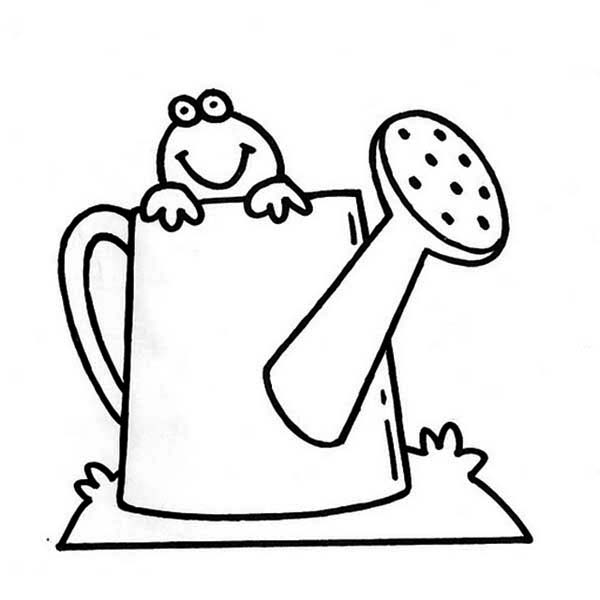 Watering Can, : Frog Inside Watering Can Coloring Page