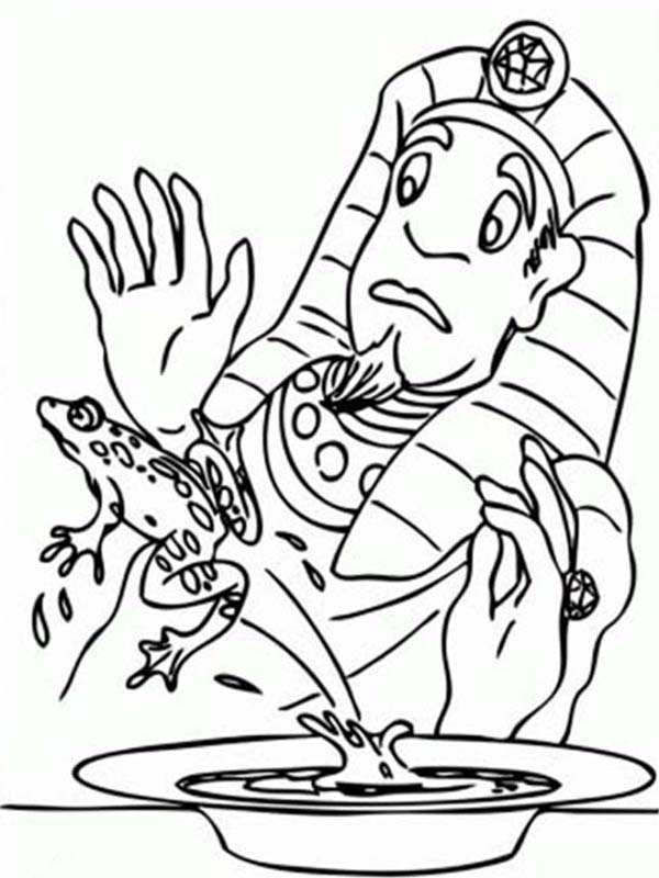 10 Plagues of Egypt, : Frog Jump from Pharaoh Plate in 10 Plagues of Egypt Coloring Page
