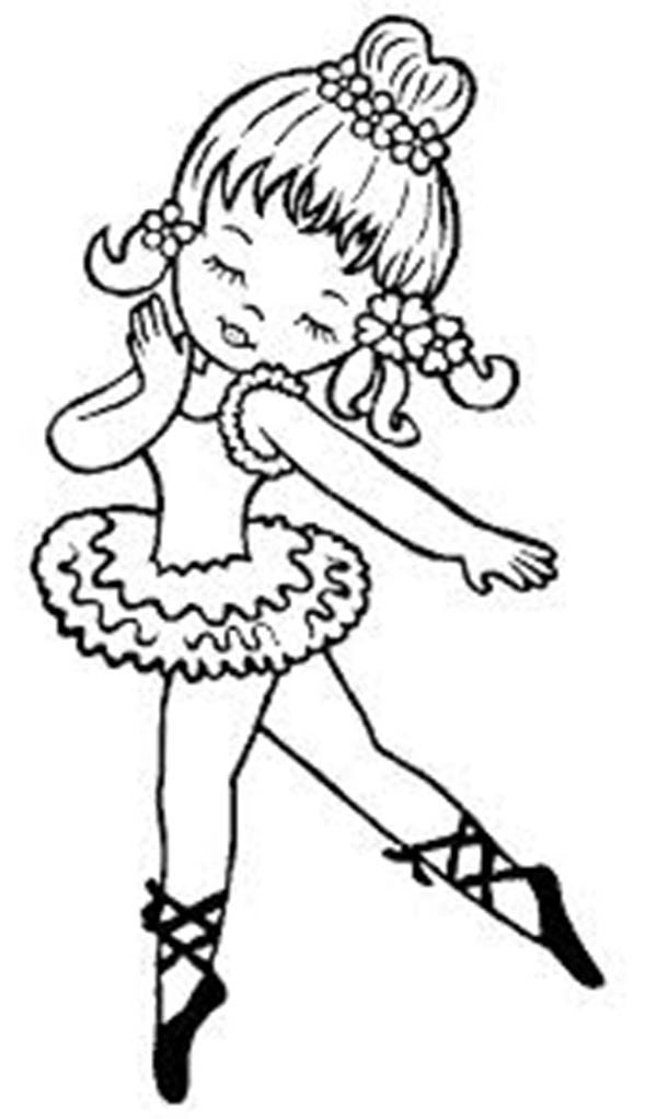 Dance, : Funny Little Girl Dance Coloring Page