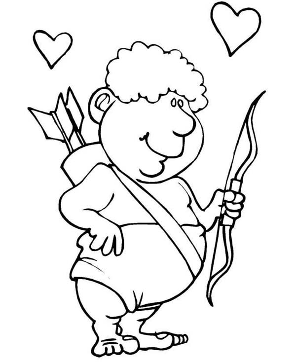 Cupid, : Funny and Fat Cupid Coloring Page