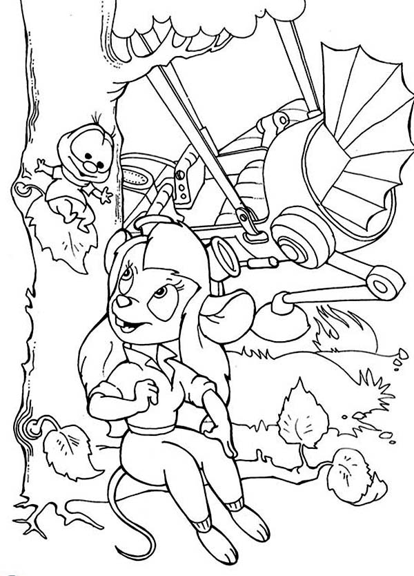 chip and dale gadget and her invention in chip and dale coloring page