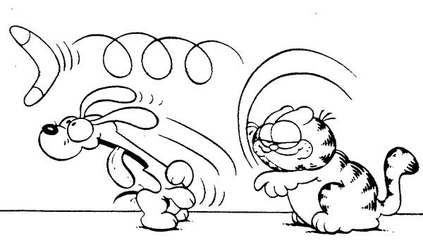 Boomerang, : Garfield Throw Boomerang Coloring Page