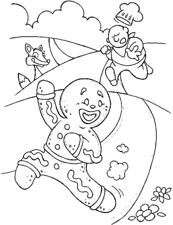 Gingerbread Men, : Gingerbread Men Runaway fro Chef Coloring Page