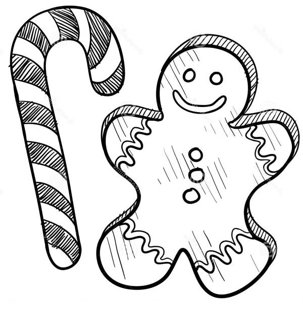 Gingerbread Men, : Gingerbread Men and Candy Cane Coloring Page