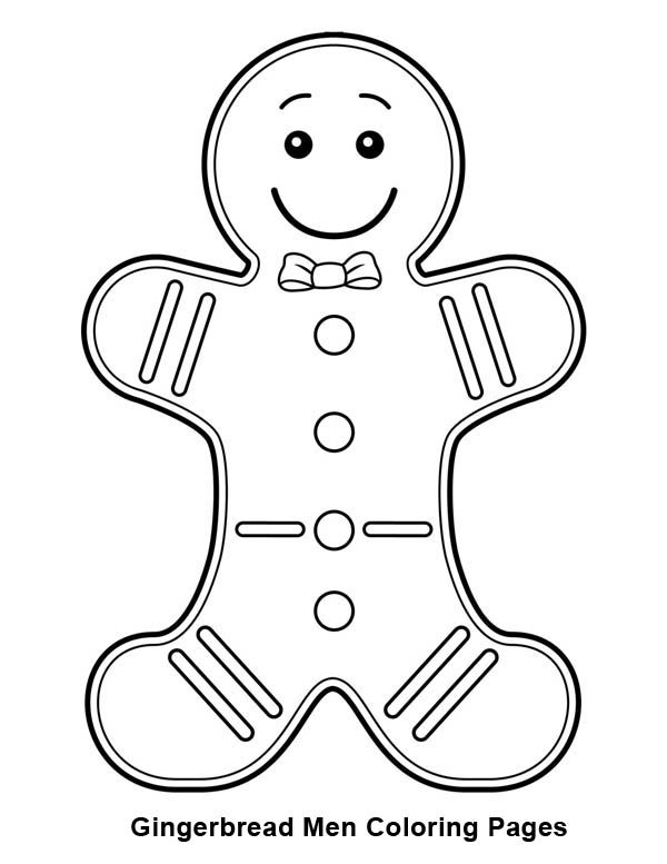 Gingerbread Men, : Gingerbread Men with Bow Tie Coloring Page