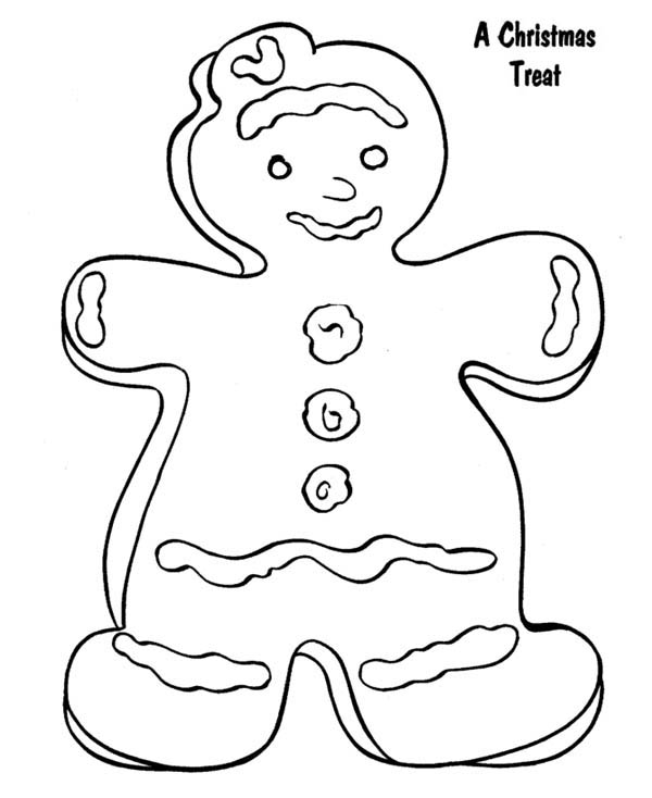 Gingerbread Men, : Gingerbread as a Christmas Treat in Gingerbread Men Coloring Page