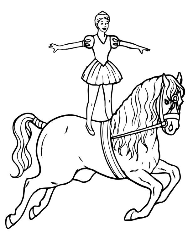 Circus, : Girl Standing on Running Horse at Circus Show Coloring Page