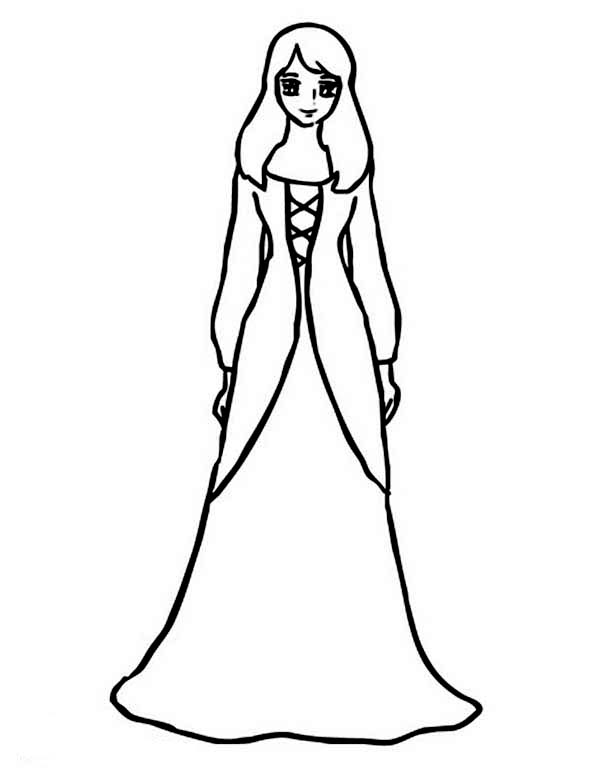 girl wear beautiful long dress coloring page - Coloring Pages Girls Dresses