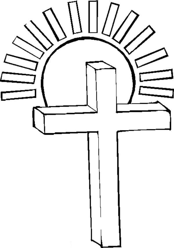 Cross, : Glittering Sunlight Over Cross Coloring Page