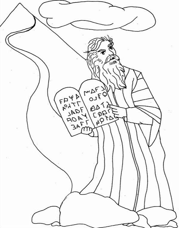 Ten Commandments, : God Give Moses Stone Tablet about Ten Commandments Coloring Page