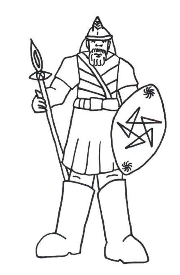Armor of God, : Goliath and Armor of God Coloring Page