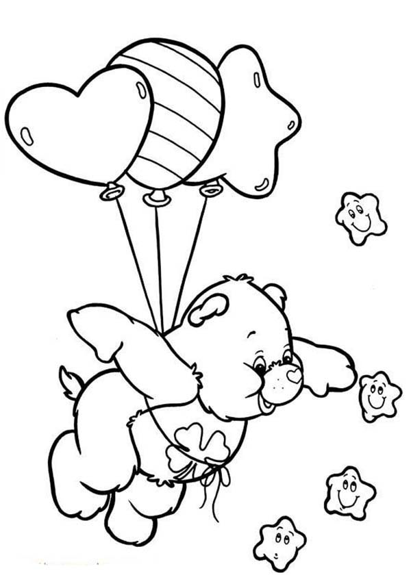 Care Bear, : Good Luck Bear Counting Stars in Care Bear Coloring Page