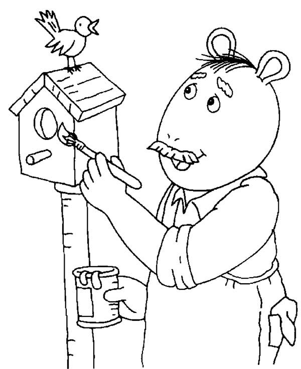 Arthur, : Grandpa Dave Paint Bird House in Arthur Coloring Page