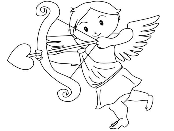 Cupid, : Greek God of Love Cupid Coloring Page