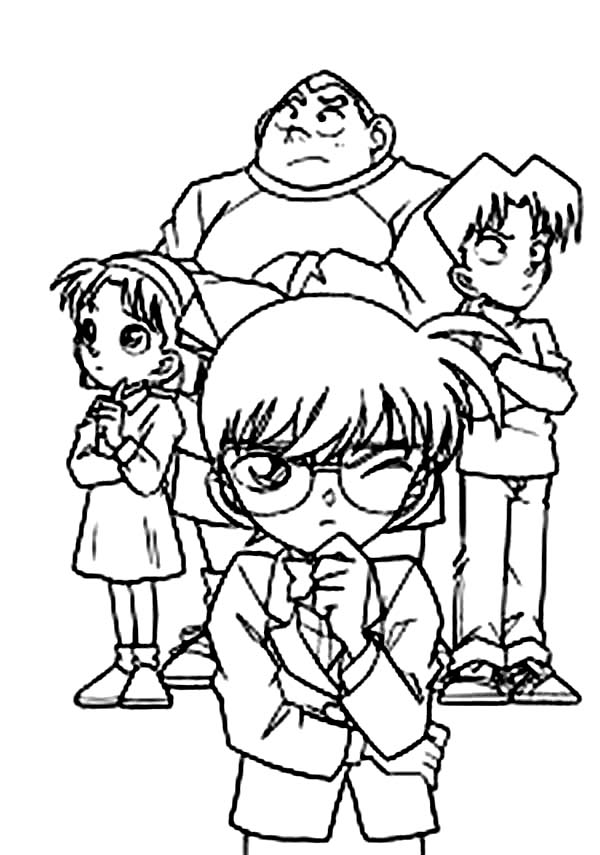 Detective Conan, : Group of Kid Detective Lead by Detective Conan Coloring Page