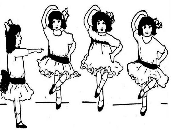 Dance, : Group of Little Girls Learn Ballet Dance Coloring Page