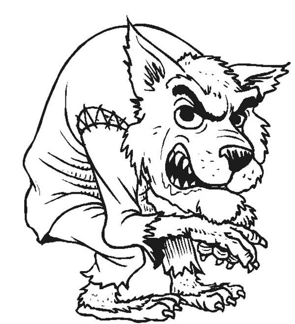 Werewolf, : Halloween Werewolf Coloring Page