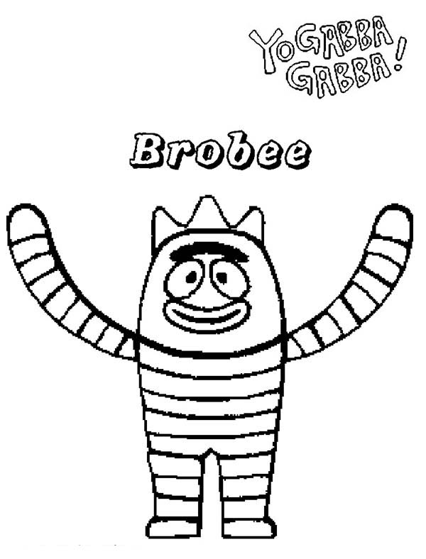 Yo Gabba Gabba, : Happy Brobee from Yo Gabba Gabba Coloring Page