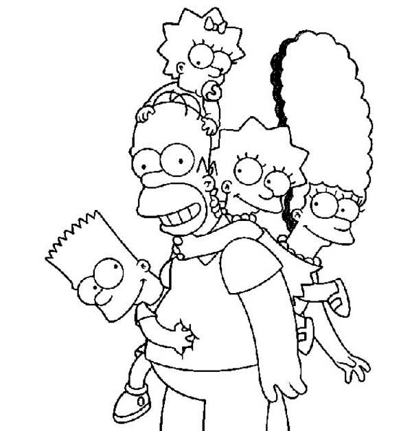 Happy Family The Simpsons Coloring Page Coloring Sun