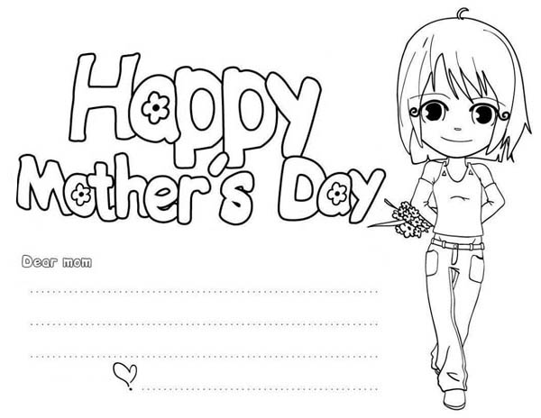 Mothers Day, : Happy Mothers Day Card Coloring Page