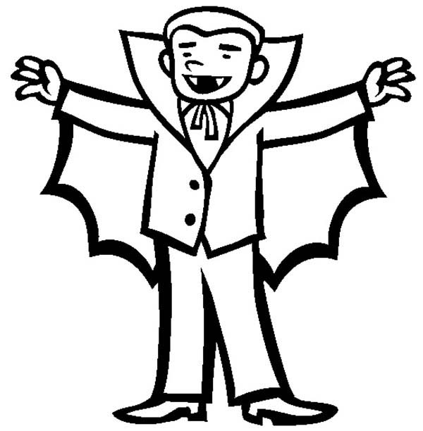 Vampire, : Happy Vampire Coloring Page