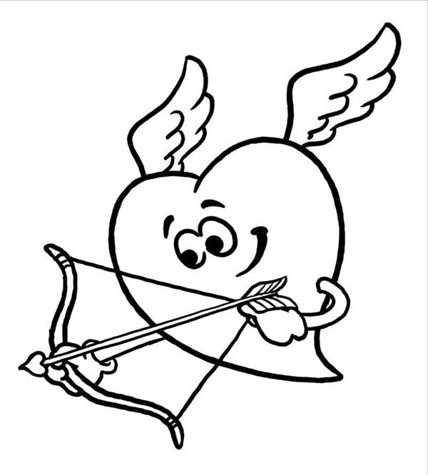 Cupid, : Heart Cupid Coloring Page
