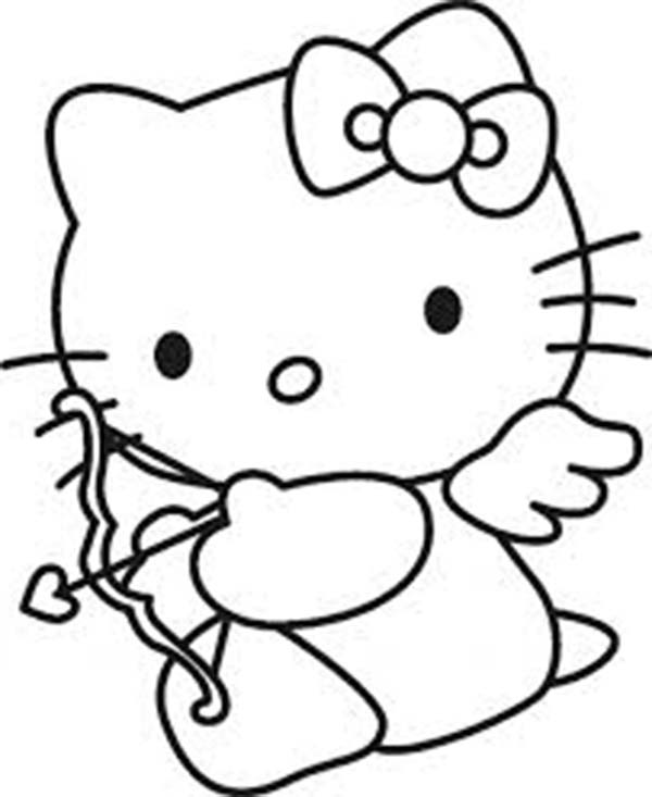 Cupid, : Hello Kitty Cupid Coloring Page