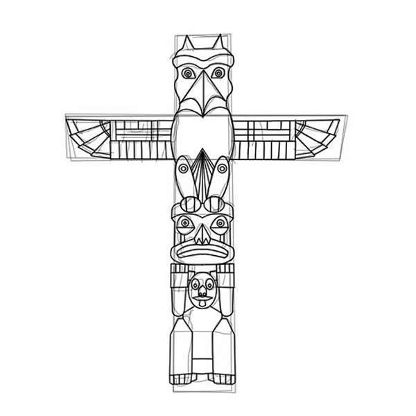 Native American Day, : How to Carved a Native American Totem on Native American Day Coloring Page