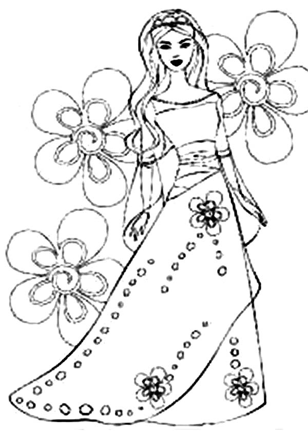 Barbie Princess, : How to Draw Barbie Princess Coloring Page