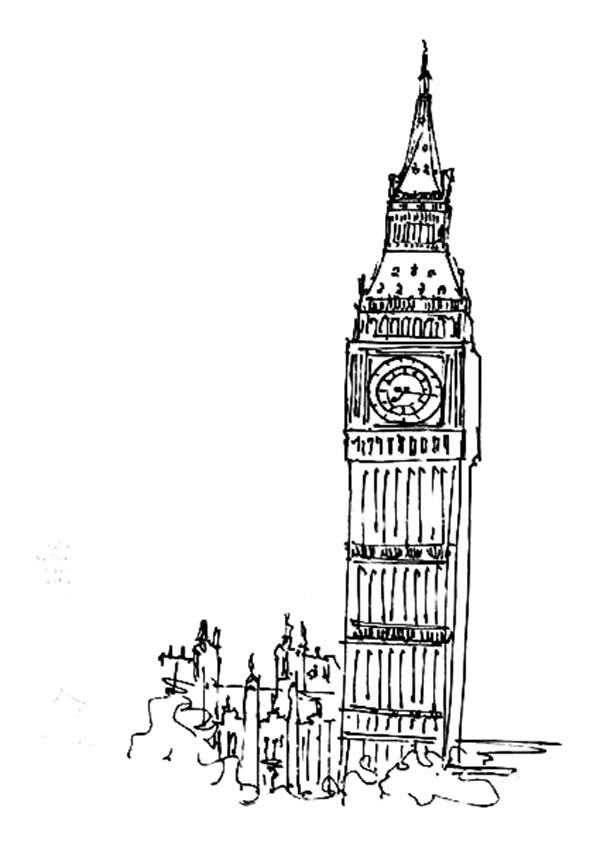Big Ben, : How to Draw Big Ben Coloring Page