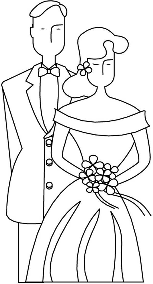 Wedding, : How to Draw Wedding Couple Coloring Page
