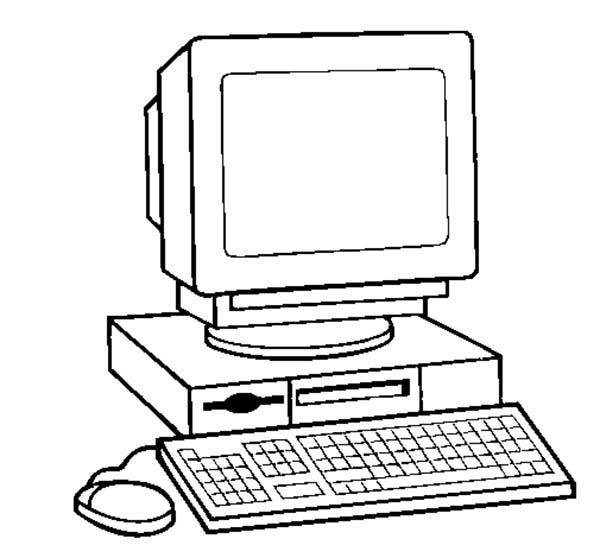 Computer, : How to Draw a Computer Coloring Page
