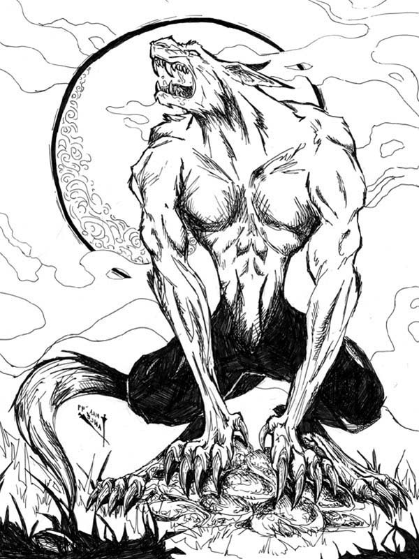 howling werewolf picture coloring page