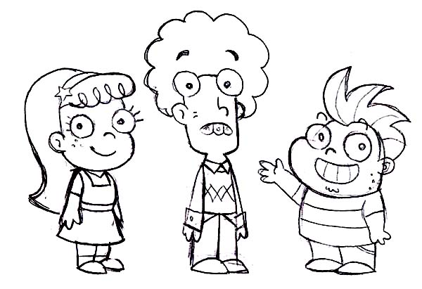 Fish Hooks, : Human Fish Hooks Characters Coloring Page